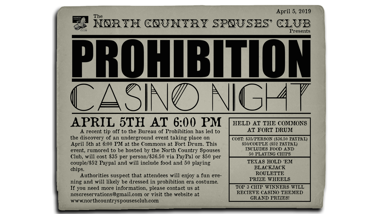 North Country Spouses Club Prohibition Casino Night